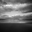 The Storm is Coming B&W - Bateau Bay Beach by Jacob Jackson
