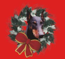 Doberman Face Wreath Holiday Shirt by SmilinEyes