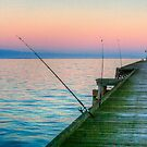 Fishing and texting on Beachport Jetty, Beachport by Elana Bailey