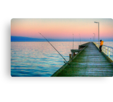 Fishing and texting on Beachport Jetty, Beachport Canvas Print