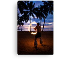 Sunset Fire Show Canvas Print
