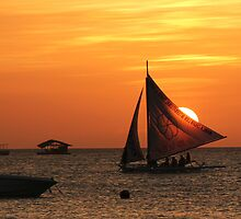 Sunset behind Sails at Boracay, Philippines. by Harry Roma
