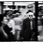 Old Man in busy crowd by markheathcote