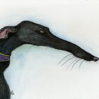 A Little Crooked Nose - Greyhound Art by Elle J Wilson