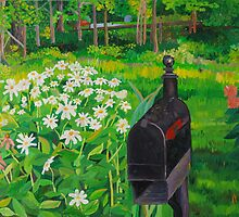 Mailbox and daisys landscape by ArtLuver