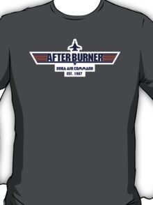 After Burner Top Gun Blue on White Logo Mashup Homage T-Shirt