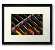 Crusty Iron Grill with Flames Beneath Framed Print