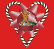 Candy Cane Heart Gingerbread Man Holiday Shirt by SmilinEyes