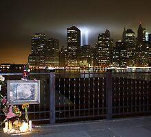 Brooklyn Promenade Memorial, WTC Memorial Lights in Background by mrjcruz2896