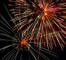 Pyrotechnics Show in the Night Sky by Kenneth Keifer