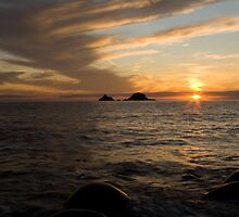 Sunset at Porth Nanven by jonleonard