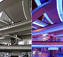 Day and night, Puxi Viaduct, Shanghai by DaveLambert