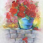 Geraniums in the blue pot by IlonaT