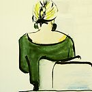 woman in cafe by donnamalone