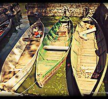 Green fishing boats  Ioannina ,Greece by fruitcake