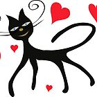 Black cat with red hearts by Ludmilka