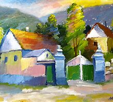 The Green Gate - Original Oil Painting (Landscape) 1988 by Andrei Mundrea