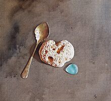 """Still life with teaspoon and heart stone"" by Elena Kolotusha"