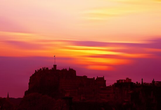 Edinburgh Castle Sunset by David Alexander Elder
