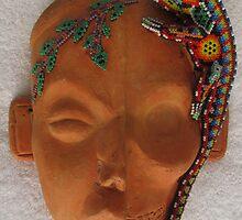 Life and death and a iguana - Huichol artwork by Bernhard Matejka