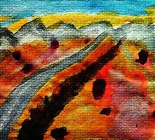 Going thru Owens Lake bed in desert towards Nevada, watercolor by Anna  Lewis