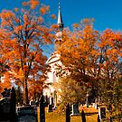 New England Style Church in Fall Autumn Cemetery with Orange Leaves, Trees &amp; Tombstones by Chantal PhotoPix