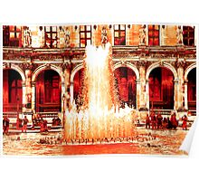 Parisian Mosaic - Piece 28 - Fountains at the Louvre Poster