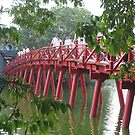 Hanoi red Huc bridge. by machka