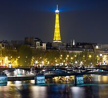 Eiffel Tower & Pont des Arts, by night by Philip Kearney