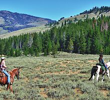 HORSEBACK RIDERS IN YELLOWSTONE by pshootermike