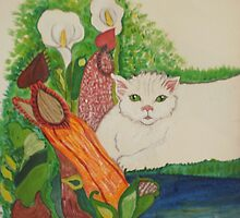 My Cat with calla Lilies by Nora Fraser