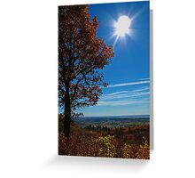 Rural Fall Landscape ~ Silhouette of a Single Tree bathed in Sun Rays on Hill Greeting Card