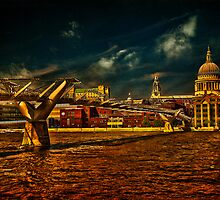 The Millennium Bridge & St Paul's Cathedral, London by LudaNayvelt