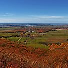 Fall Autumn Colors ~ Aerial View of Fields, Farmland & the Ottawa River ~ Country Landscape by Chantal PhotoPix