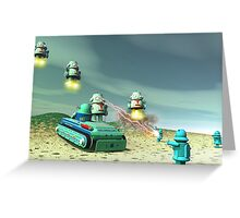 Robot Invasion From Above Greeting Card