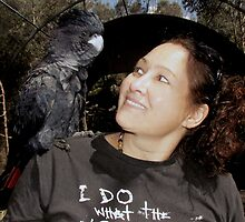 Red-tailed Black Cockatoo, Oh And Me...He Claimed Me As His Mate haha. by Toni Kane