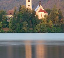 Sunrise over Lake Bled and the island church by Ian Middleton