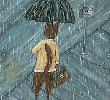 Cat In The Rain by ThimbleSparrow