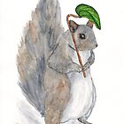 Watercolor Squirrel by ThimbleSparrow