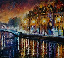 AMSTERDAM, WINTER REFLECTION - LEONID AFREMOV by Leonid  Afremov