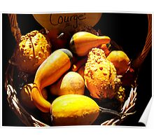 Vignette Photo of Decorative Gourds in a Wicker Basket - Fall Season w/ Autumn Colours  Poster