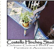 Painted Deacon's Bench by Linda Costello Hinchey
