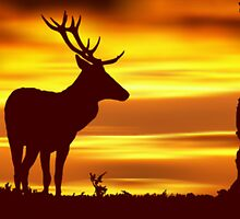 Deer at Dusk by David Alexander Elder