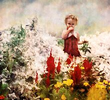 Little Girl Walking Among Flowers by Erica Yanina Lujan