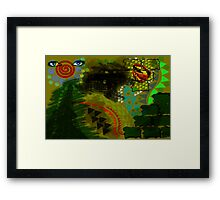 Composition Eiffel, Cadillac, Bird and lips Framed Print