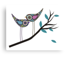 Retro Bird Art 2 Paisley Birds On Tree Branch Canvas Print