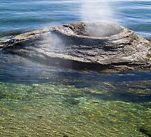 The Fishing Cone, Steaming on Yellowstone Lake by Kenneth Keifer