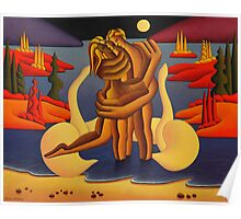 The red island Lovers ,acrylic on canvas panel Poster