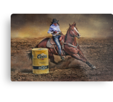 Barrel Rider Cowgirl Metal Print
