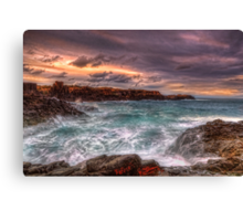 Sea wash on a rocky bay Canvas Print
